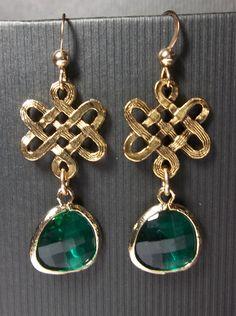 Irish earrings  Emerald  Celtic Knots  Green by QueenMeJewelryLLC, $27.99