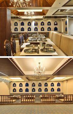 Restaurant Interiors, Restaurant Design, Indian Seating, Golden Bowl, Cash Counter, Cove Lighting, Flush Doors, Shades Of Beige, Diffused Light