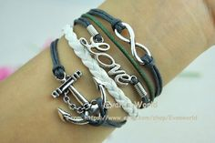Infinity Love Anchor Charm Bracelet  Silver Wax Cords by Evanworld, $4.20