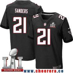 Men s Atlanta Falcons  21 Deion Sanders Black Alternate 2017 Super Bowl LI  Patch Stitched NFL b555ba802