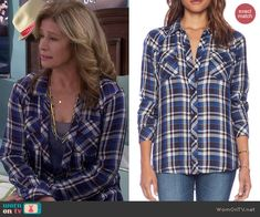 Vanessa Baxter Fashion on Last Man Standing Looks Style, Style Me, Nancy Travis, Last Man Standing, Work Attire, Blue Plaid, Country Girls, My Wardrobe, Navy And White