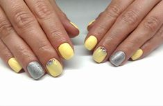 yellow silver glitter nails #spring