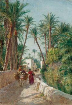 Eugène Alexis Girardet - Under the Palm trees Art Arabe, Arabian Art, Islamic Paintings, Academic Art, Classic Paintings, Historical Art, Classical Art, Egyptian Art, Fantasy Landscape