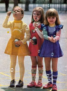 1970s childrens clothes   missdandy: Little girls blowing bubbles, late 1970s.