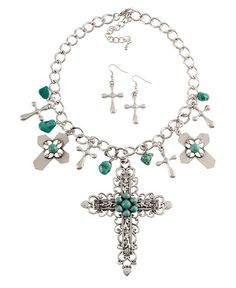 Faux Turquoise & Silver Charm Necklace Set