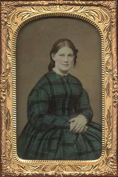 Plaid dress, tinted green. A.BETHKE     This image reminds me of my own green plaid crinoline dress.