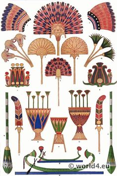 Ancient Egyptian standard feather fans, the Khu papyrus staff with ostrich feather carried by princes, boats and oars, Osiride crowns, feathered horse headdresses, flowers and vases. Grammar of Ornament by Owen Jones.