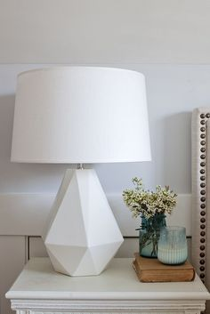 White geometric lamp Jillian Harris's bedroom