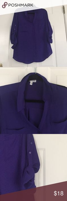 Express portofino button up blouse Express portofino button up blouse. Rich deep indigo color. Size large. Only worn twice. Too large for me now. Express Tops Blouses