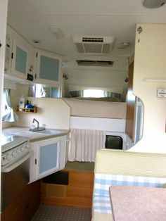 #vintagecaravan #campervan #camping #silverashcampers   This is our new rental unit - sleeps 4. Fully renovated interior with cute polka dot tiles, stripy curtains and check cushions. Available for rental in lovely Monterey California http://www.silverashcampers.com/