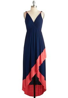 Summer  via Modcloth With the Indie Crowd Dress - Mid-length, Blue, Coral, Casual, High-Low Hem, Spaghetti Straps, V Neck, Beach/Resort