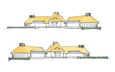 Schetsfase van een strobalen woning  Landgoed de Biezen te Zelhem is een ontwerp van architectenbureau Giesen Architectuur uit Doetinchem. Het ontwerp is geheel uitgevoerd in strobalenbouw.