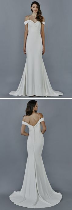 Phoebe wedding dress by Kelly Faetanini // Crepe slim gown with criss-cross off the shoulder sleeve and spaghetti strap shoulder detail #weddinggowns