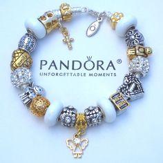 Authentic Pandora Bracelet w/ White Gold Plt Angel Love Cross Faith Charm Beads #PandoraBracelet #Charms