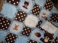 Personalized Forest Animals Rag Quilt/pillow/Stuffed Teddy Set