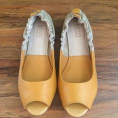 Diesel open toe ballet flats Super cute open toe flats with a rich dark mustard leather and grayish brown canvas. New with box. Diesel Shoes