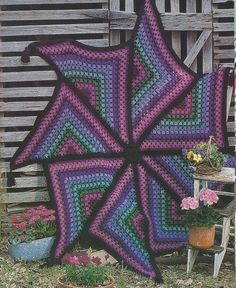 RARE~Pinwheel Afghan Crochet Pattern~Hard to find~