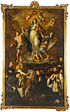 Nuestra Señora de la Luz A Spanish painting of Our Lady of the Light and various Jesuit saints.