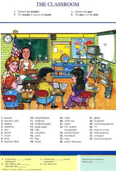 6 - THE CLASSROOM - Pictures dictionary - English Study, explanations, free exercises, speaking, listening, grammar lessons, reading, writing, vocabulary, dictionary and teaching materials