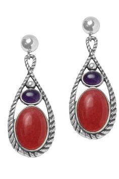 Sterling Silver Fuchsia Color Drop Earrings.