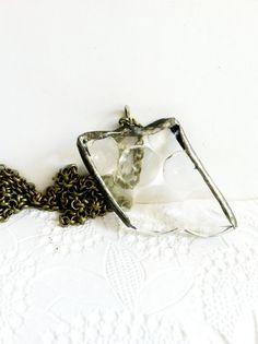 Depression Glass Necklace Hobnail Soldered Pendant by Mystarrrs $18
