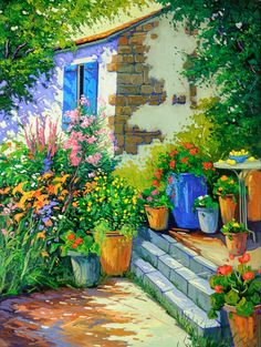 Artwork by artist Robert Savignac, represented by the West End Gallery. Beautiful Paintings, Beautiful Landscapes, Landscape Art, Landscape Paintings, Art Watercolor, Garden Steps, Country Landscaping, Naive Art, House Painting