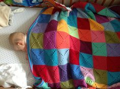 Little Tin Bird's Big Elmer blanket - blogged about here http://www.littletinbird.co.uk/2012/07/10/babys-first-blanket   She used her Elmer Squares pattern to make these 5 round solid granny squares and used Stylecraft Special dk on a 4mm hook. The colours are: Turquoise, Cloud Blue, Aster, Sherbet, Aspen, Spring Green, Meadow, Saffron, Shrimp, Lipstick, Pomegranate, Raspberry, Violet, Fondant, Magenta, Plum, Clematis and Lavender.