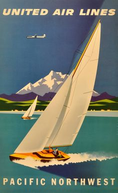 Joseph Binder - Original vintage travel advertising poster for United Airlines Pacific Northwest