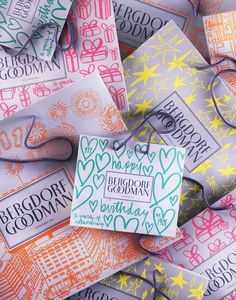COLOR- brights - might only work on gray tho (magnenta, orange/red, aqua, yellow)Limited Edition Bergdorf Goodman Shopping Bags Luxury Packaging, Pretty Packaging, Gift Packaging, Packaging Design, Cosmetic Packaging, Packaging Ideas, Bergdorf Goodman, Graph Design, Box Design