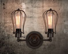 NEW Industrial Dual Caged Metal Vintage Wall Lamp Retro Wall Sconce Edison Lamp