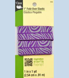 1-inch Foldover Elastic Zebra purple/gray- 1Yd $2.99 Zebra Party, Purple Gray, Purple Grey