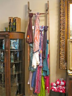 scarf display | ladder used as a clever display for scarves (yes, Lolli's has ...
