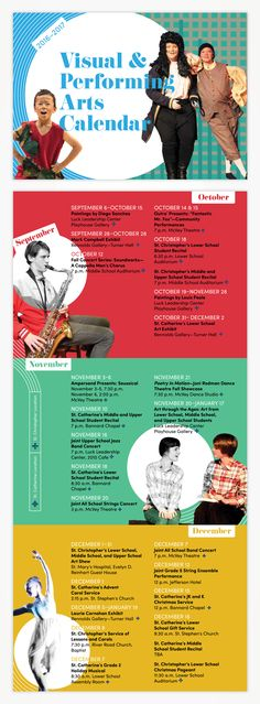 Arts calendar for St. Catherine's & St. Christopher's Schools, coordinated private schools—design by Raison.
