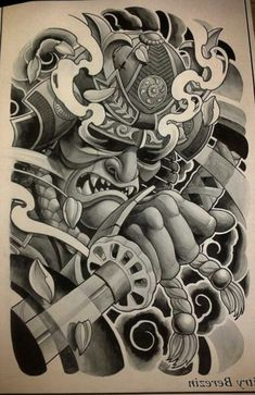 Japanese Warrior Tattoo, Japanese Snake Tattoo, Japanese Tattoo Designs, Japanese Sleeve Tattoos, Mascara Samurai Tattoo, Samurai Warrior Tattoo, Warrior Tattoos, Hannya Mask Tattoo, Yakuza Tattoo