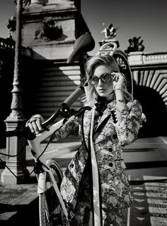Charlene Hogger Takes Paris In Spring Couture Lensed By David Burton For Elle US January 2015 — Anne of Carversville David Burton, Alfred Stieglitz, Cycle Chic, Spring Couture, Bicycle Girl, Bike Style, Elle Magazine, Sports Luxe, Lady Biker