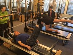 Thursday early morning sessions seem a bit of a boys' club in the Reformer Room. #Pilates #PilatesReformer #PilatesExercises #BuyTheGuyStudiowear #PortlandOR #PilatesForMen