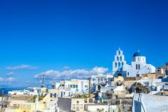 Santorini; Greece; Aegean Sea; blue church Santorini Greece, New York Skyline, Sea, Blue, Travel, Viajes, Ocean, Trips, Traveling