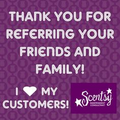 thank you scentsy I love referrals https://lisarucker.scentsy.us