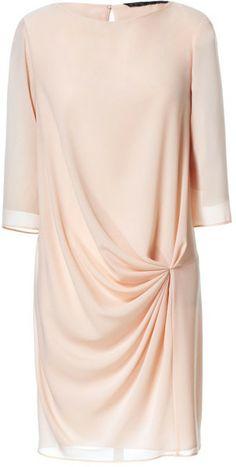 Zara Dress with Drape Detail in Beige (make-up) - Lyst