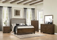 Homelegance Leavitt Panel Bedroom Set in Brown Cherry Brown Dresser, Dresser With Mirror, Bedroom Furniture, Furniture Sets, Beige Headboard, Headboard With Shelves, Platform Bedroom, Kids Bedroom Sets
