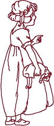 Redwork Little Girl with Doll Embroidery Design