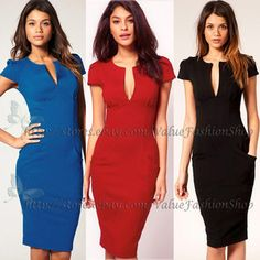 Image detail for -Rockabilly Deep V Neck Puff Sleeve Bodycon Stretch Party Pencil Dress ...