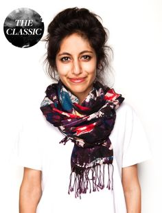 Scarf - The Classic: 1. Loop the scarf so one side is longer  |  2. Double wrap the long side  |  3. Knot the uneven sides together and tuck the longer side in the fold
