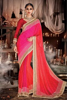 Red and Pink Colour Satin Silk Fabric Wedding Wear Designer Saree Comes With Matching Viscose Fabric Blouse. This Saree Is Crafted With Moti Work,Hand Work,Booti Work,Lace Work,Embroidery. This Saree ...