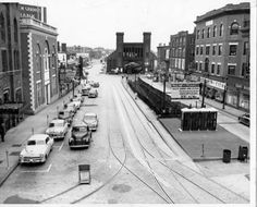 Washington Street and the old Eastern Railroad Station in Salem, Ma.