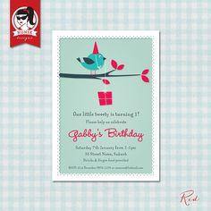 Cute bird party invitation  Custom Printable by NunskDesigns, $14.00
