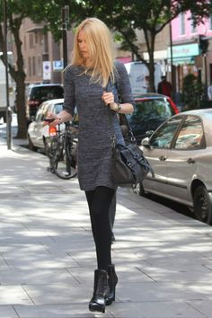 Claudia Schiffer out in Central London. Alexander McQueen bucklestrap boots and Mulberry Alexa bag