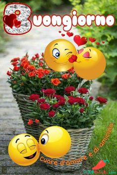 Smileys, Italian Greetings, Good Morning Beautiful Images, Smiley Emoji, Good Morning Coffee, Christmas Images, Vignettes, Flower Power, Decir No