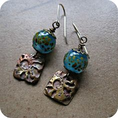 AJE Earring Challenge 8/52 - Lampwork beads by (me) Sue Beads and copper charms by Kristi Bowman-Gruel.