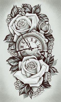✔ Tattoo Rose Realistic Colour - ✔ Tattoo Rose Realistic Colour You are in the ri - Clock Tattoo Design, Sketch Tattoo Design, Floral Tattoo Design, Flower Tattoo Designs, Best Sleeve Tattoos, Tattoo Sleeve Designs, Tattoo Designs Men, Realistic Tattoo Sleeve, Rose Tattoos